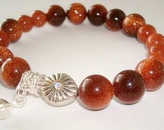 Bracelet - Brown Goldstone - Swarovski Element - Fortune Cookie - Dangle - Silver - Goldstone - Fall Tones