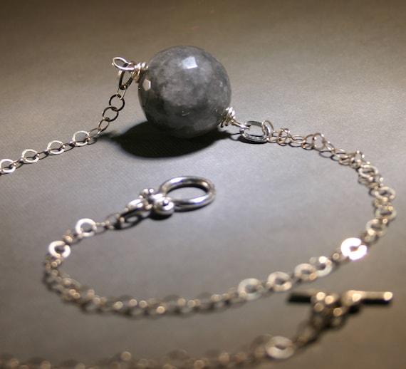 Gray Quartz Necklace with Sterling Silver Rutilated Semi Precious Stone Fashion