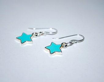 Super Star Earrings -- Turquoise Stars, Silver