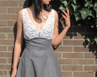 Luncheon Date Dress - Fit and Flare - Lace, Buttons, Gray Stripes - Small or Medium - FINAL SUPER SALE !!!