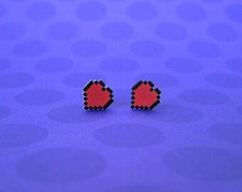 Legend of Zelda Pixel Heart Earrings