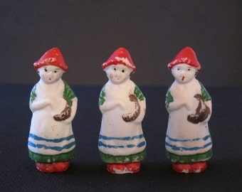 Vintage Dolls Frozen Charlotte Set of 3 Bisque Women 40s
