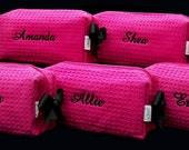 4 Personalized Small Hot Pink Waffle Weave SPA Cosmetic Bags