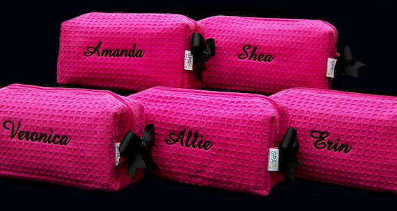 3 Personalized Small Hot Pink Waffle Weave SPA Cosmetic Bags