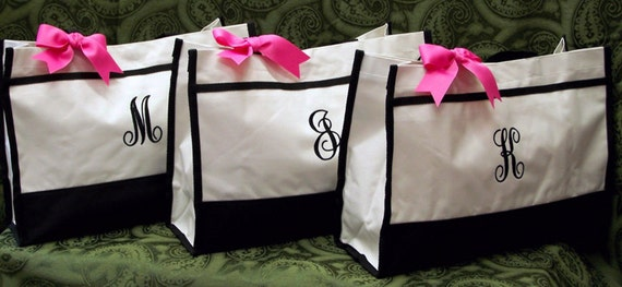 3 Personalized Tote Bags Bridesmaids Bridal Attendants