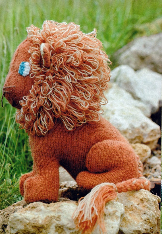 Free Knitting Pattern Toy Lion : Knit Lion Toy Vintage Knitting PDF PATTERN