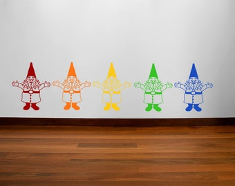 Rainbow gnomes wall decal- set of five multicolor gnomes