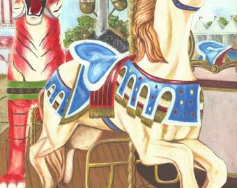ART, Original Oil Painting, Carousel 1, 8x10 print from original oil painting, circus children Earthspalette