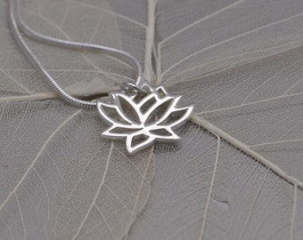 lotus flower necklace, petite lotus flower necklace, lotus flower necklace, zen lotus necklace, sterling silver plated bronze lotus necklace