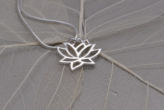petite lotus flower sterling silver necklace