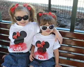 Mickey or Minnie Mouse Custom personalized hand painted children's t shirt