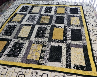 Modern Lap Quilt Geometric Yellow, Black & White