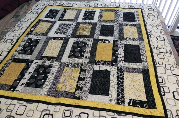 Modern Lap Quilt Geometric Yellow, Black & White