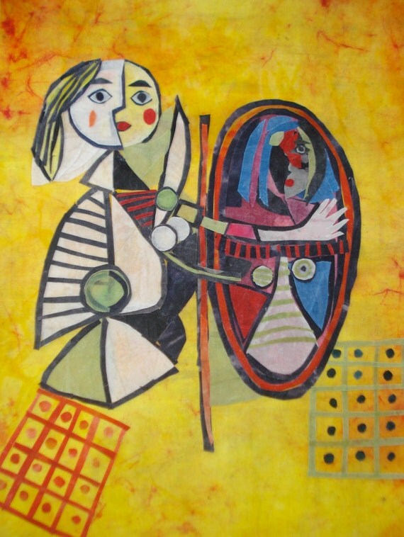 Listing Reserved for Emilie: Batik Fabric Collage Art Girl Before a Mirror, Ode to Picasso