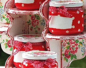 Kitchen shelf- glass jars-polka dots-roses-red-decoupaged-handmade-shabby-romantic