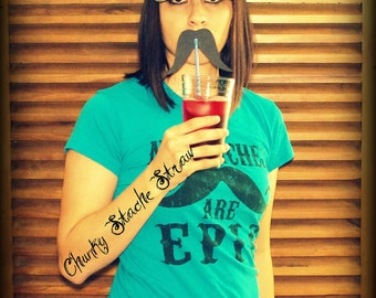 12 Mustaches on a Straw- The Chunky Stache-Little Man Party-Mustache Party-Photo Props-Photo Booth-Wedding props-Mustache ona stick