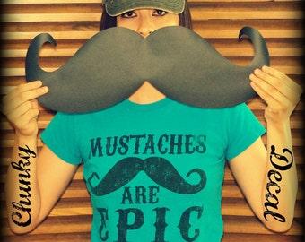 Chunky Car Mustache Vinyl Decal-Mustache Sticker-car mustache-The Handlebar-Little Man Party-Car decal-Mustache Decor-Wall decal