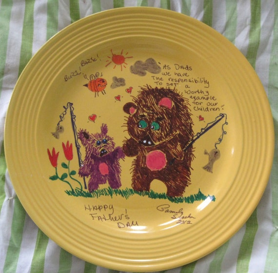 "11 inch painted plate for Father's Day ""To Set a Worthy Example"""