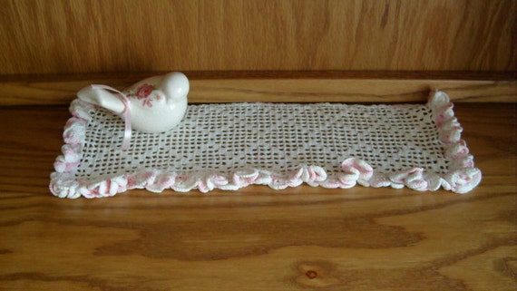 Pink and White Dresser Doily, Crocheted Ruffled Doily