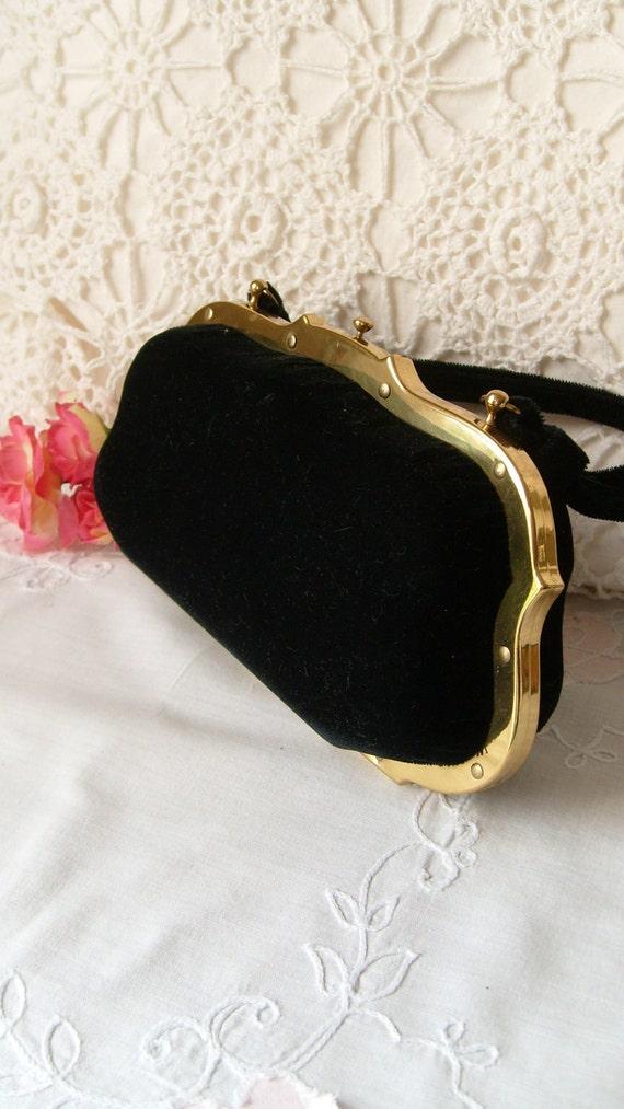 Jana Black Velvet Evening Bag, Hardcase Push Button Purse, Black Box Purse