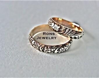 Gold, 14K,  Art Nouveau, Floral Design, Antiqued 4 mm Ring