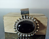 SALE Vintage Silver Oval Onyx and Miligrain Pendant