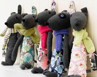 Soft Toy, Toy Dog, Plush Dog, Stuffed Toy, Softie, OOAK Toy, Handmade Toy, Feedsack, UK Seller, Etsy UK, The Woolly Dog