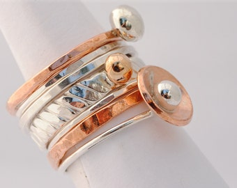 Modern Stacking Ring Set - Sterling Silver & Copper  - Made To Order