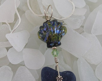 Navy Blue Frosted Beach Sea Glass and Handmade Shell Lampwork with Sterling Silver Bail Necklace   194