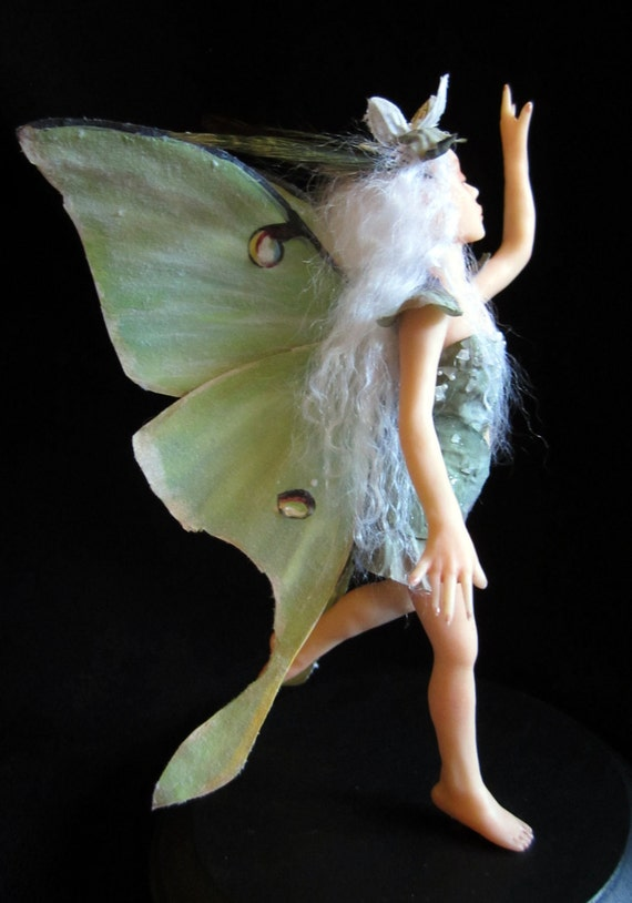 Luna-Touch the Moon, OOAK Hand sculpted fairy art doll