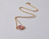 Pink Crystal Gold Necklace - Rose, Tiny Solitaire Link Connector - Wedding, Bridesmaids Set, Mother Sister Daughter Friend Gift, Swarovski