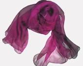 Silk Chiffon Scarf - New - Magenta & Dark Brown - Ripples Effect