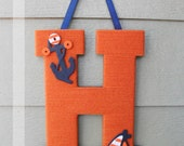 "Yarn Letter - Monogram Wreath, Baby Boy, 13.5"", Wooden, Nautical"