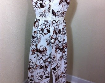 Vintage 1970s Disco Outfit / Vintage Lane Bryant / Floral Overdress / Top with Tails