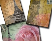 INSTANT Download Vintage Postcards of Paris Digital Collage Sheet ACEO ATC 2.5 x 3.5 inch Altered Art Jewelry Holders no. 8