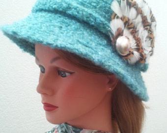 Cloche Wool Hat In Aqua c1950