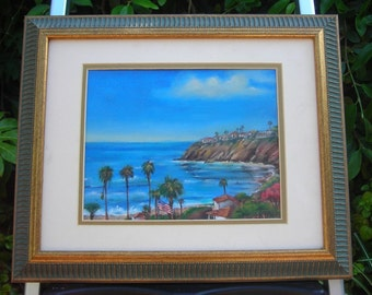 Wall Art Original Painting Modern Oil Ocean view with American flag Laguna Beach canvas with mat and frame