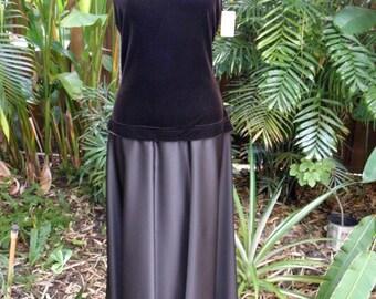Vintage Tadashi Brown Satin & Velvet Vintage Dress, NWT, 12' Sweep, 1990's, Rhinestones, sz M