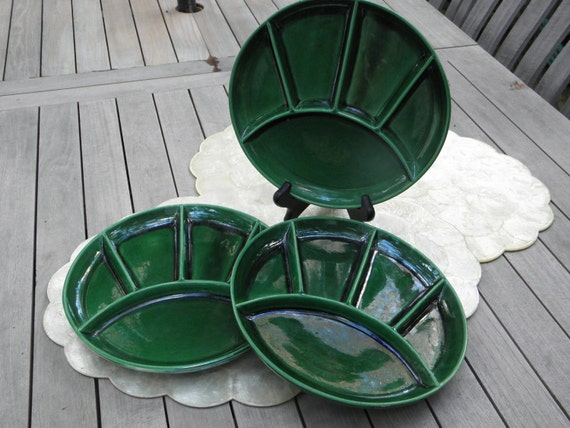 3 Bottle Green Divider Vintage Plates, Made in USA, set of 3, Dark Green, Grill Plates, Sushi Plates, Compartment Plates, Luncheon Plates