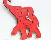 """The """"Baby Elephant in Red"""" designer wall mounted clock from LeLuni"""