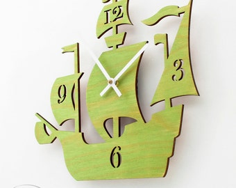 "The ""Dread Pirate Roberts"" in Lime Green, a designer wall mounted clock from LeLuni"