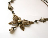 Victorian Filigree Butterfly Necklace - Swarovski Pearls and Crystals - Bridesmaid necklace - Victorian Jewelry