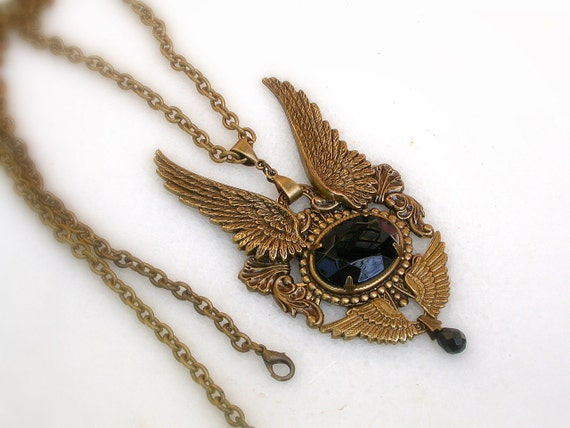 Gothic Brass Wings Pendant - Black Crystal and Angel Wings Necklace - Women Gothic Jewelry - Angel Wings Necklace