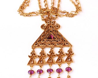 Goldette  Necklace Egyptian  Amethyst Crystal