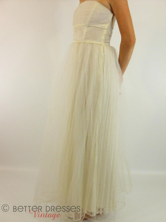 Vintage 40s or 50s Off-White Strapless Party or Wedding Dress - xs, sm