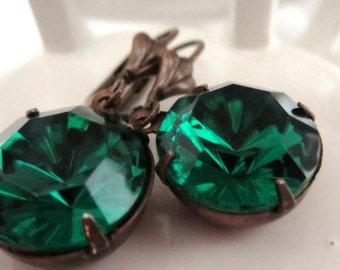 Emerald Green Rhinestone Earrings  Large Round Vintage Emerald Green Rhinestone Earrings Fancy Lever Back Ear Wires May Birthstone