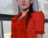 Retro Red Blouse Forties Ribbon Fishnet Trim - Made to Measure
