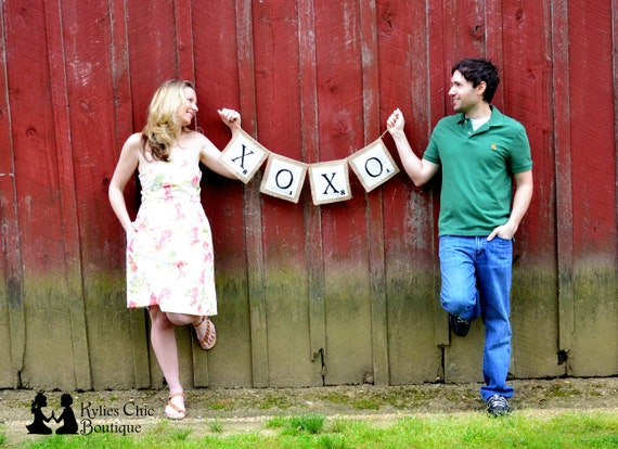 XOXO Scrabble Inspired Burlap Banner, Wedding, Engagement, Couple, and Valentines day prop