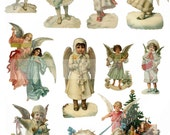 CHRISTMAS ANGELS - Vintage Die Cuts - Collage Sheet - Digital Download - Scrapbooking - Ephemera - Decoupage