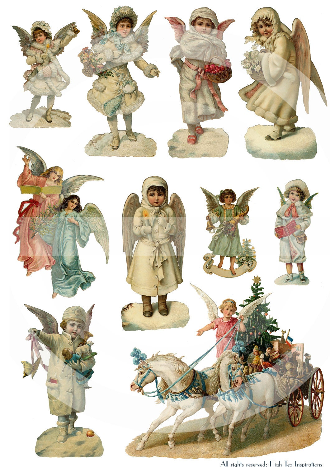 CHRISTMAS ANGELS Vintage Die Cuts Collage Sheet Digital